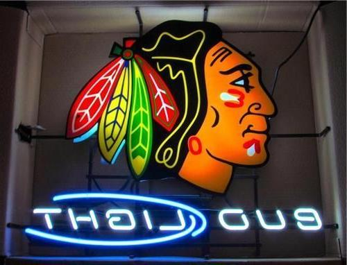 "New Bud Light Chicago Blackhawks Hockey Neon Sign 18""x18"""