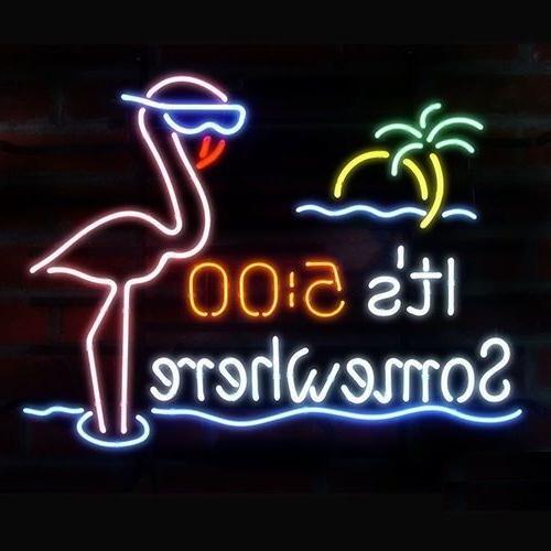"New It/'s 5 O/'clock Flamingo Palm Tree Neon Sign 20/""x16/"""