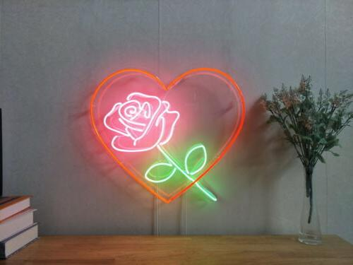 New Love Heart Rose Neon Sign For Bedroom Wall Home Decor Ar