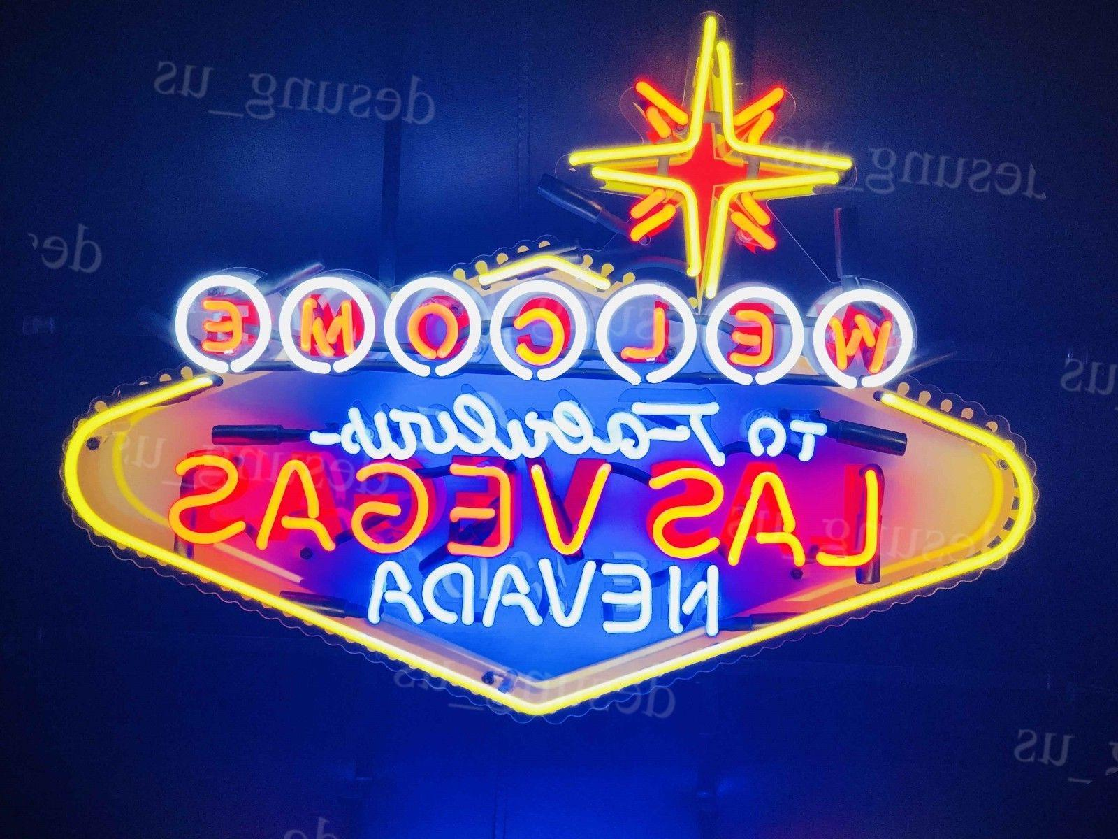 "New Welcome to Fabulous Las Vegas Light Neon Sign 24"" with H"