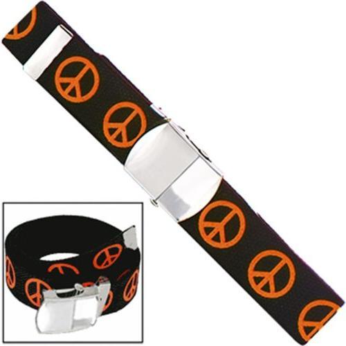 Orange Neon Peace Sign Adjustable Black Nylon Belt