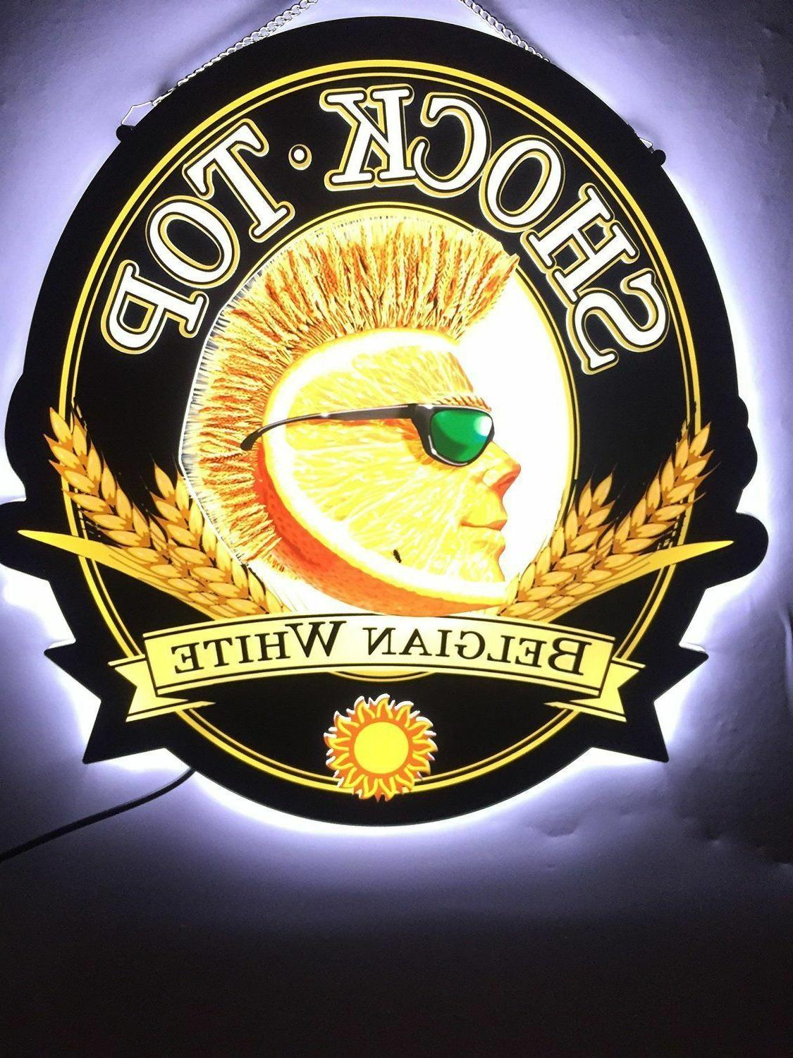 Rare New Shock Top Belgian White LED 3D Neon Sign with Back-