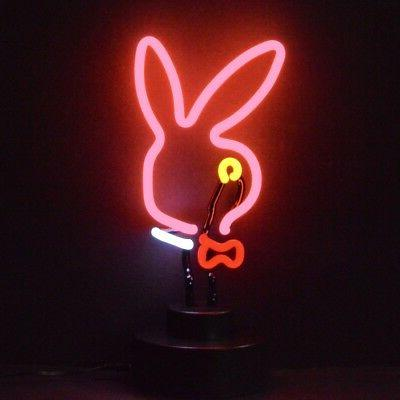 Real Neon Sign Sculpture Bunny head Ears sexy live nudes mud