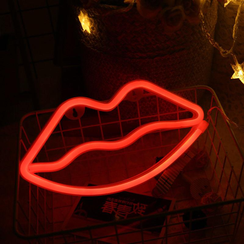 Red Lip Neon Sign LED Decor Light Wall Decor