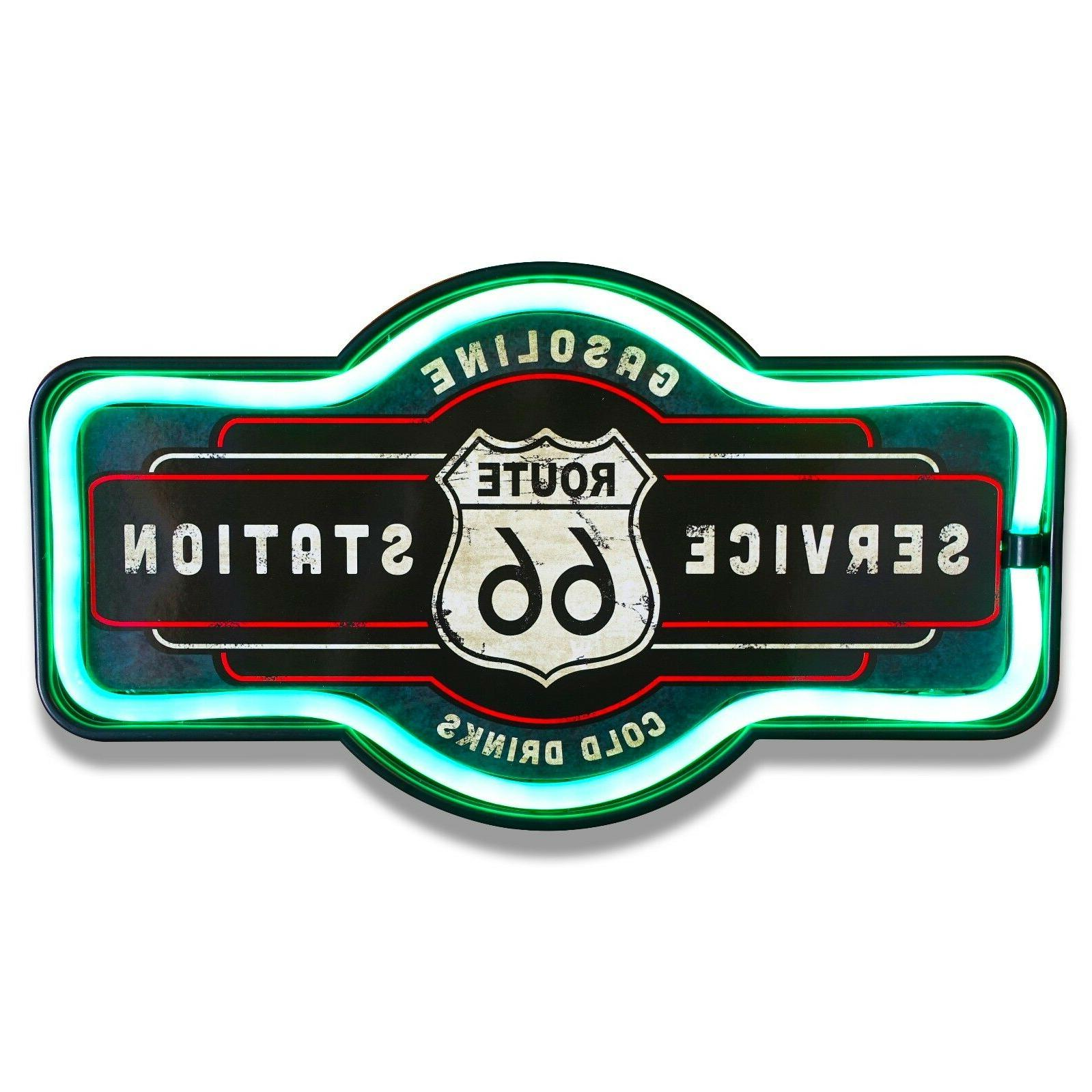 "Route 66 LED Neon Lighted Sign, 17"" Marquee Shape, For Bar,"