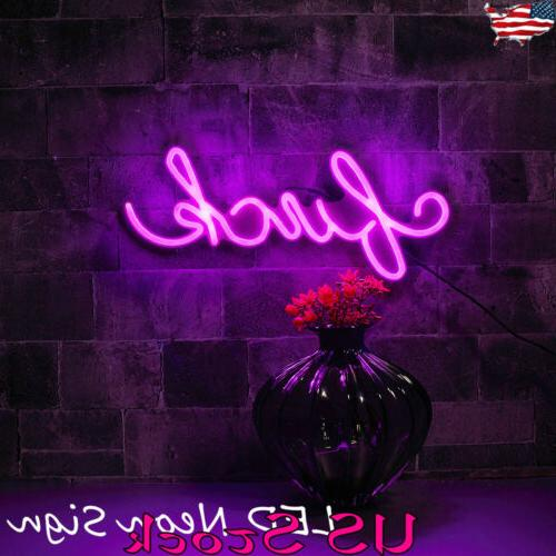 USA LED Neon Sign Light Wall Word Lamp Light Poster Home Par