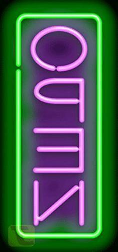 Vertical Neon Open Sign - Purple & Green