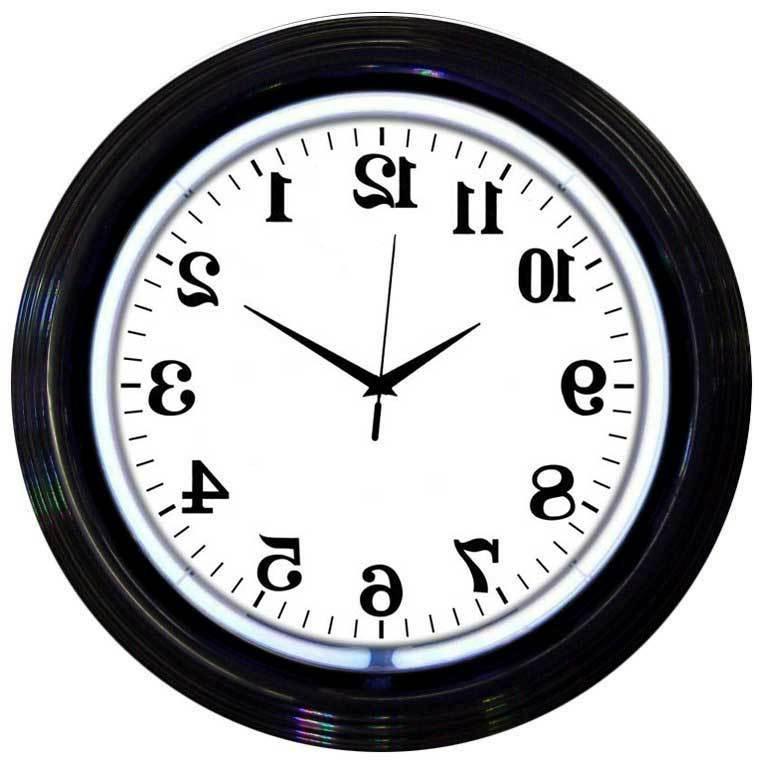 White   NEON Black rim  neon clock sign Garage open kithchen