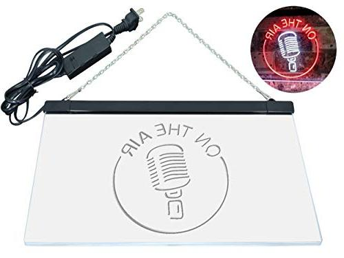 "AdvpPro Air Microphone Studio Signal Color Neon Sign Red 12"" x st6s32-m2028-wr"
