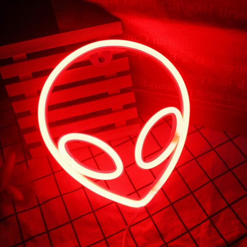 Wanxing Alien Signs LED Neon Red Lights for Bedroom