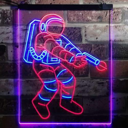 Astronaut Space Rocket Shuttle Kid Room Bar Dual Color Led Neon Sign st6-i3136