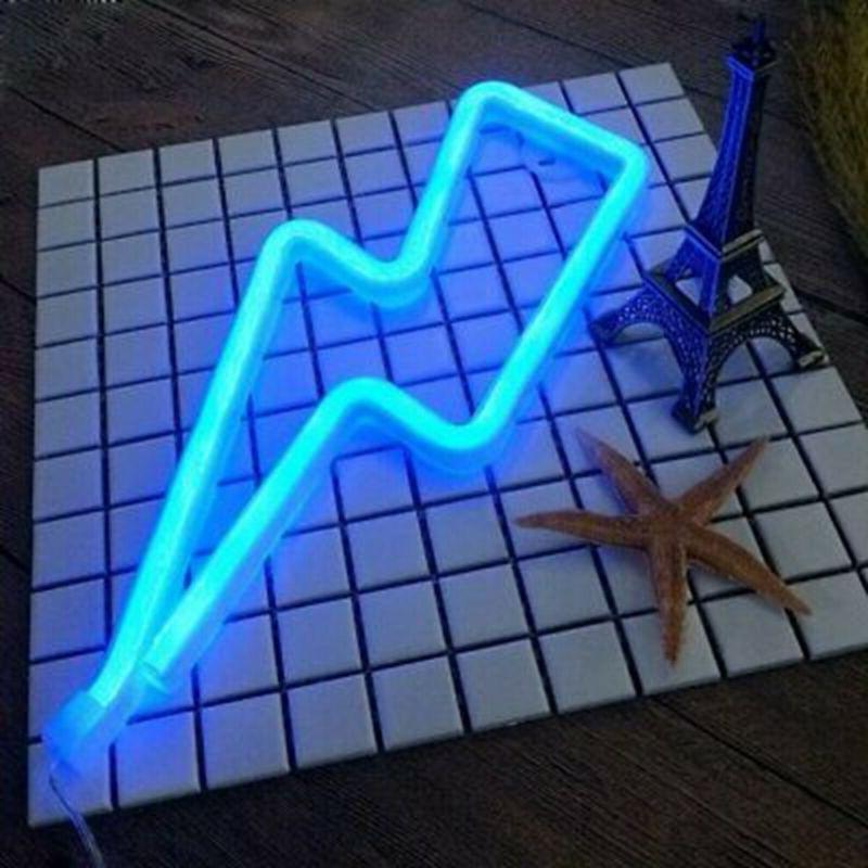 blue thunder lightning shape neon light sign