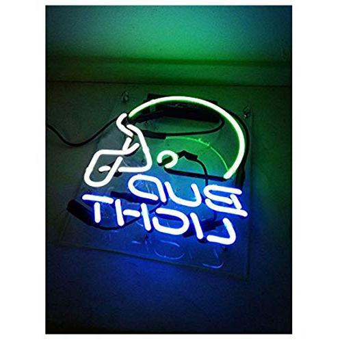 "Neon Sign Helmet Neon Bud Decorative Signs Handmade Night for Bar Store Bedroom Decor 10"""