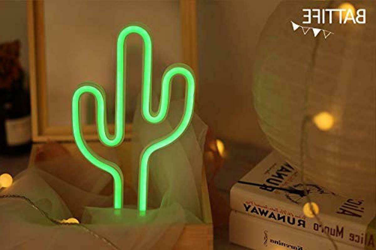 cactus neon sign led nightlight bedside lamp