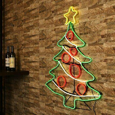 Christmas Tree with Garland neon sign sculpture table shelf