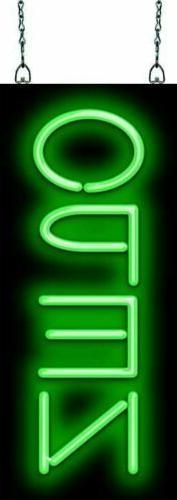 """Classic Open Green Verical Neon Sign 