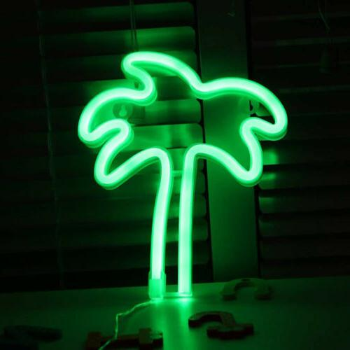 coconut palm tree neon sign wall decor