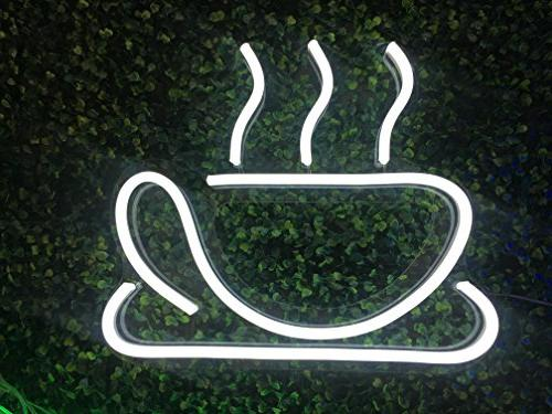 Neon Cup LED Sign Light Sign Coffee Hotels, No use of Toxic