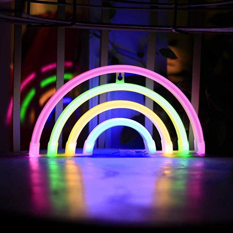 Colorful <font><b>Neon</b></font> <font><b>Sign</b></font> Rainbow USB Battery Lamp Decor