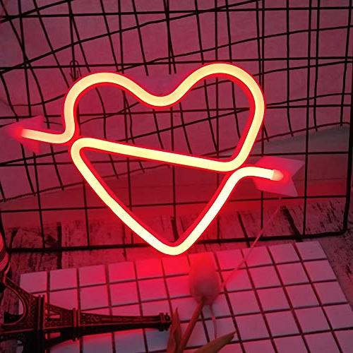 Cupid's Bow Shape Light Romantic LED Night Letter Room Valentine for