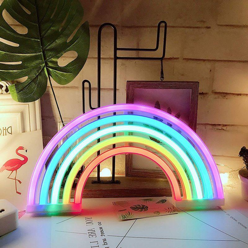 Cute <font><b>Neon</b></font> Rainbow Light/Lamp for Decor Lamps Wall Girls Bedroom Chistmas LED Light