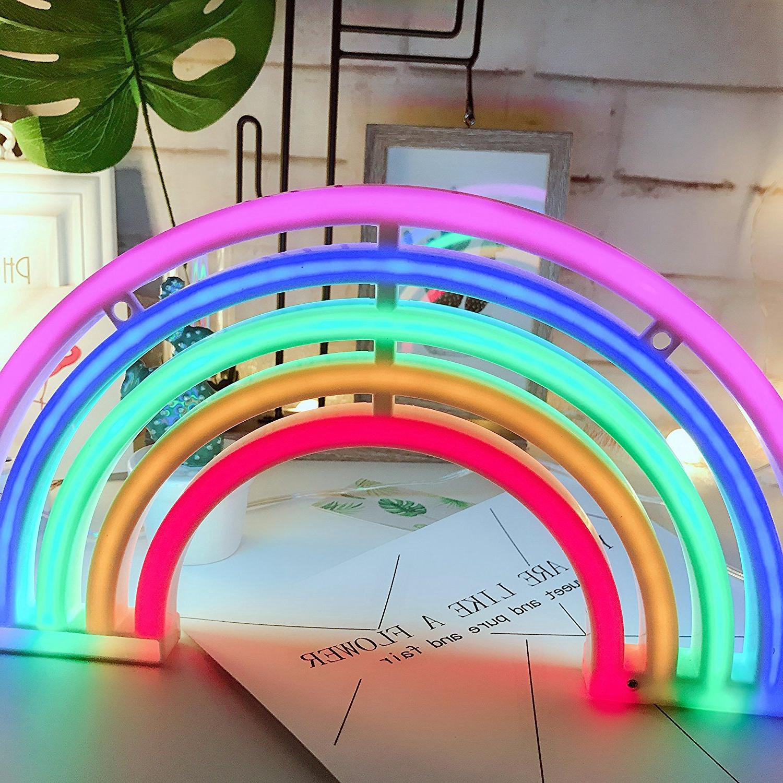 Cute Rainbow <font><b>Sign</b></font>,LED Rainbow Light/Lamp Decor,Rainbow Decor Girls