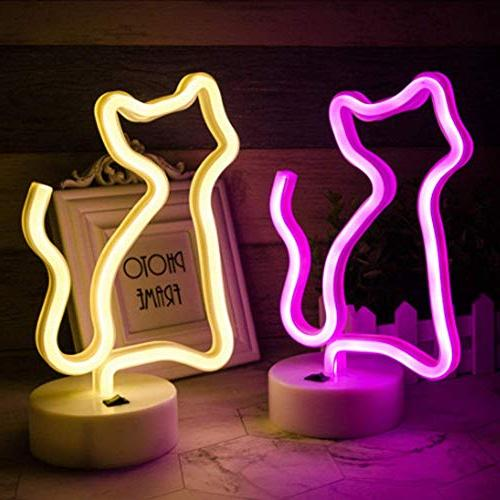 Decorative Cat Sign Light LED Animal Neon Night Art Decor Baby Birthday as Party Supplies