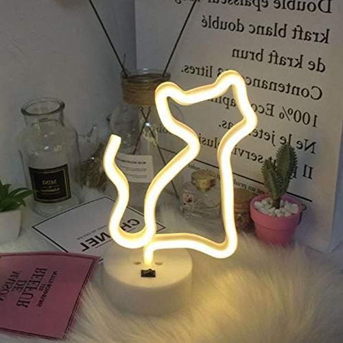 Decorative Cat Sign Light Night Art Wall Decor Baby Birthday Kids Party