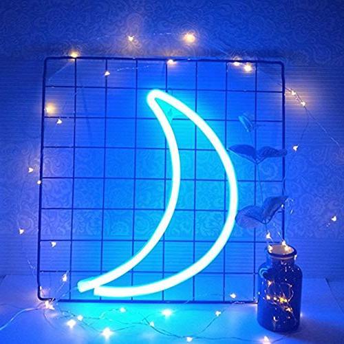Decorative LED Moon Neon Light Sign Decor Home Kids Bedroom