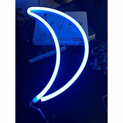 Decorative LED Crescent Neon Light Wall Home Kids -
