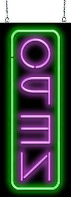 deluxe open vertical purple and green neon