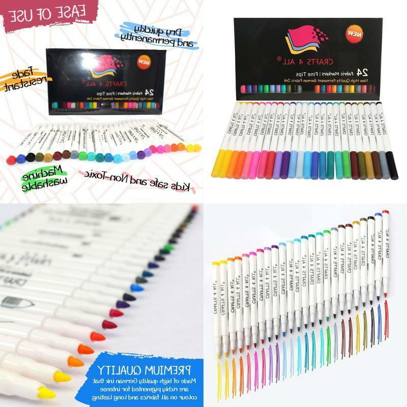 NEW Fabric Markers Permanent Coloring Pens 24 SET Fabric Pai