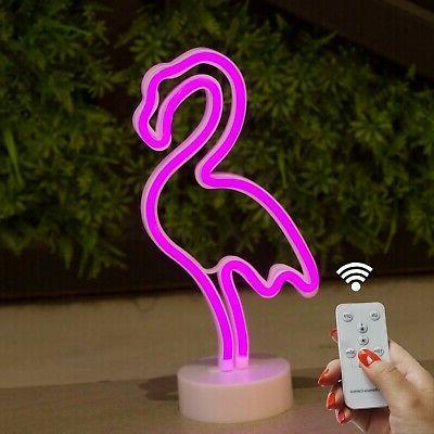 DELICORE Flamingo Neon Signs, LED Remote Control Neon Light