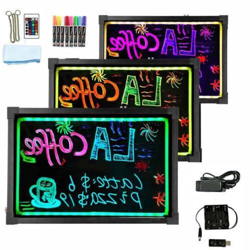 flashing illuminated erasable neon led message menu