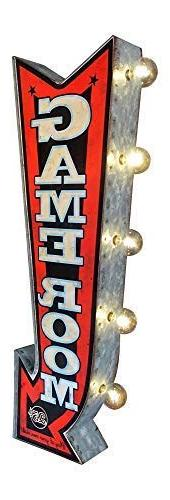 """Game Room LED Sign, Large 25"""" Double Sided Red Arrow Sign wi"""