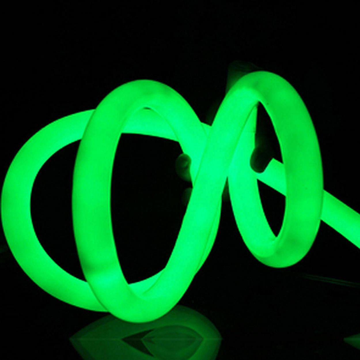 Green 360 Degree LED Neon Rope Light Building Home Sign Deco
