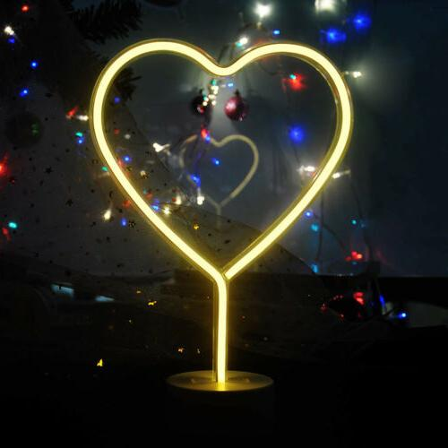 Heart Shaped Lights Powered Neon for Room