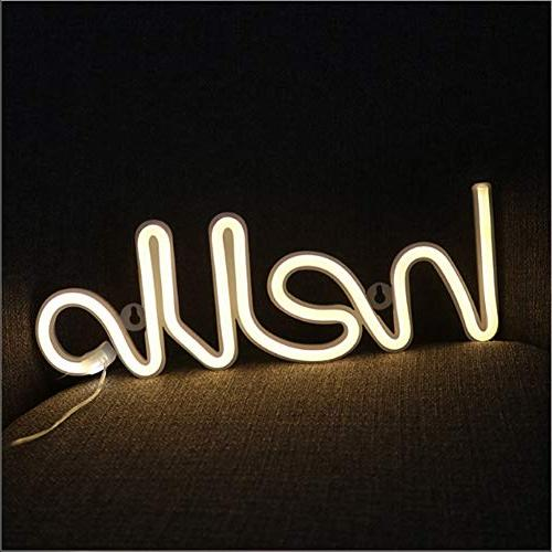 LED Hello Shape Word Neon Wall Decor Room Wedding Party Supplies