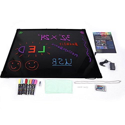 Erasable Neon Light LED Wirting Board 8pcs Highlighters for  hotels bar cafe