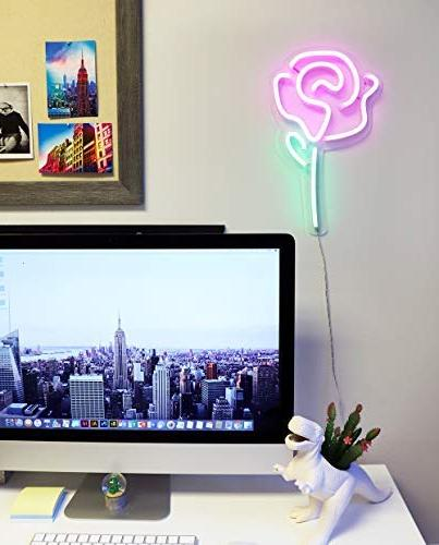 Isaac LED Flower with Wall Sign Light, Wall Art, Bedroom Decorations, Home and Powered by USB Wire