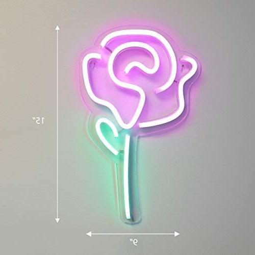 """Isaac Jacobs 15"""" inch LED Pink Wall Sign Light, Wall Art, Decorations, Party, and by"""