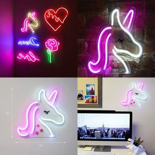 inch neon pink white unicorn
