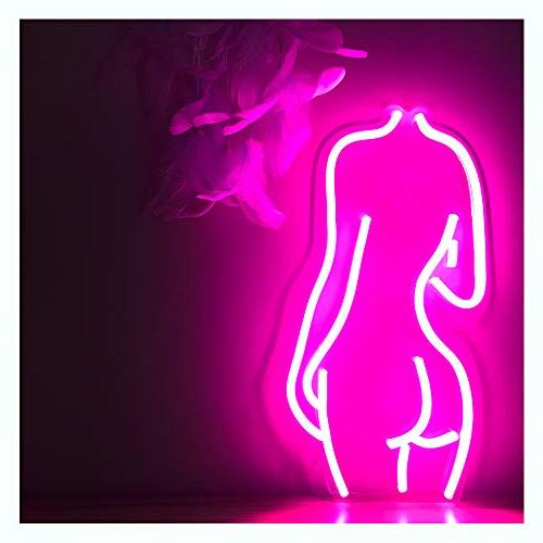 lady back neon sign lights