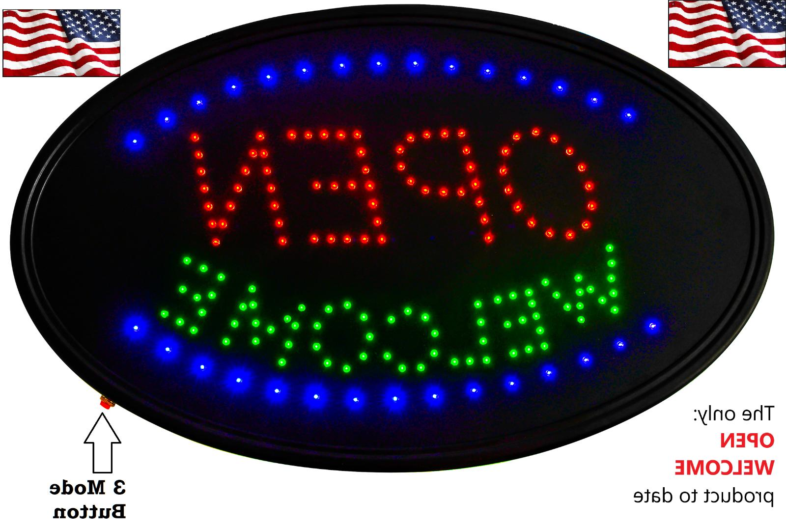 led 3 mode neon sign open business