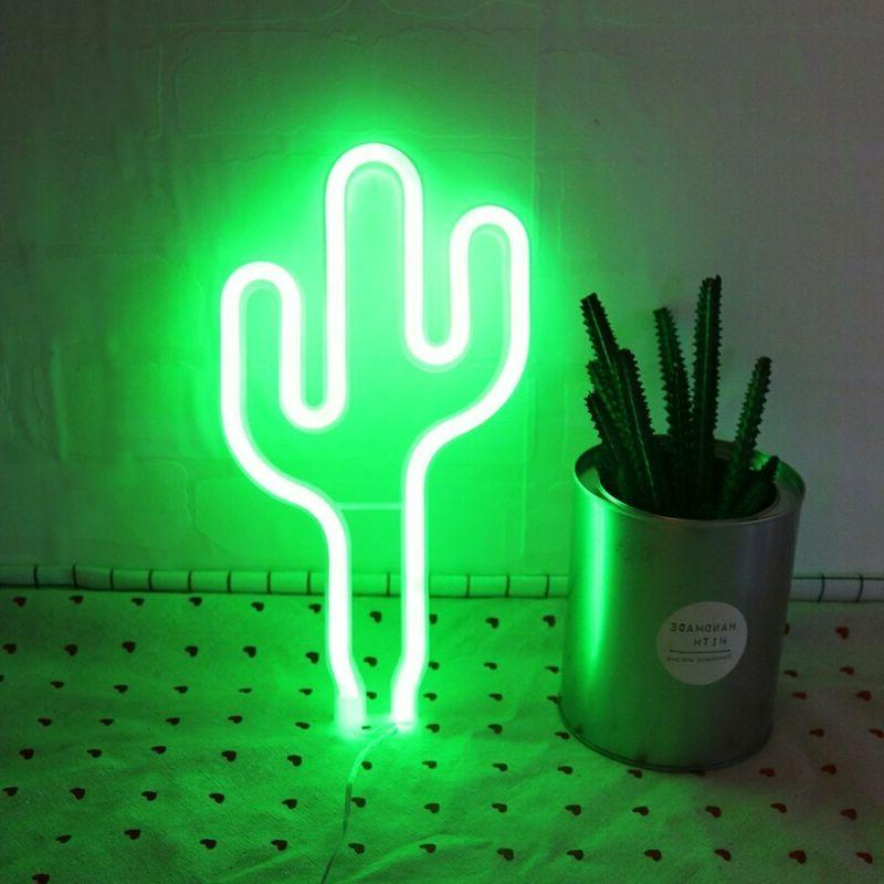 LED Cactus Neon Sign Night Lights Decoration