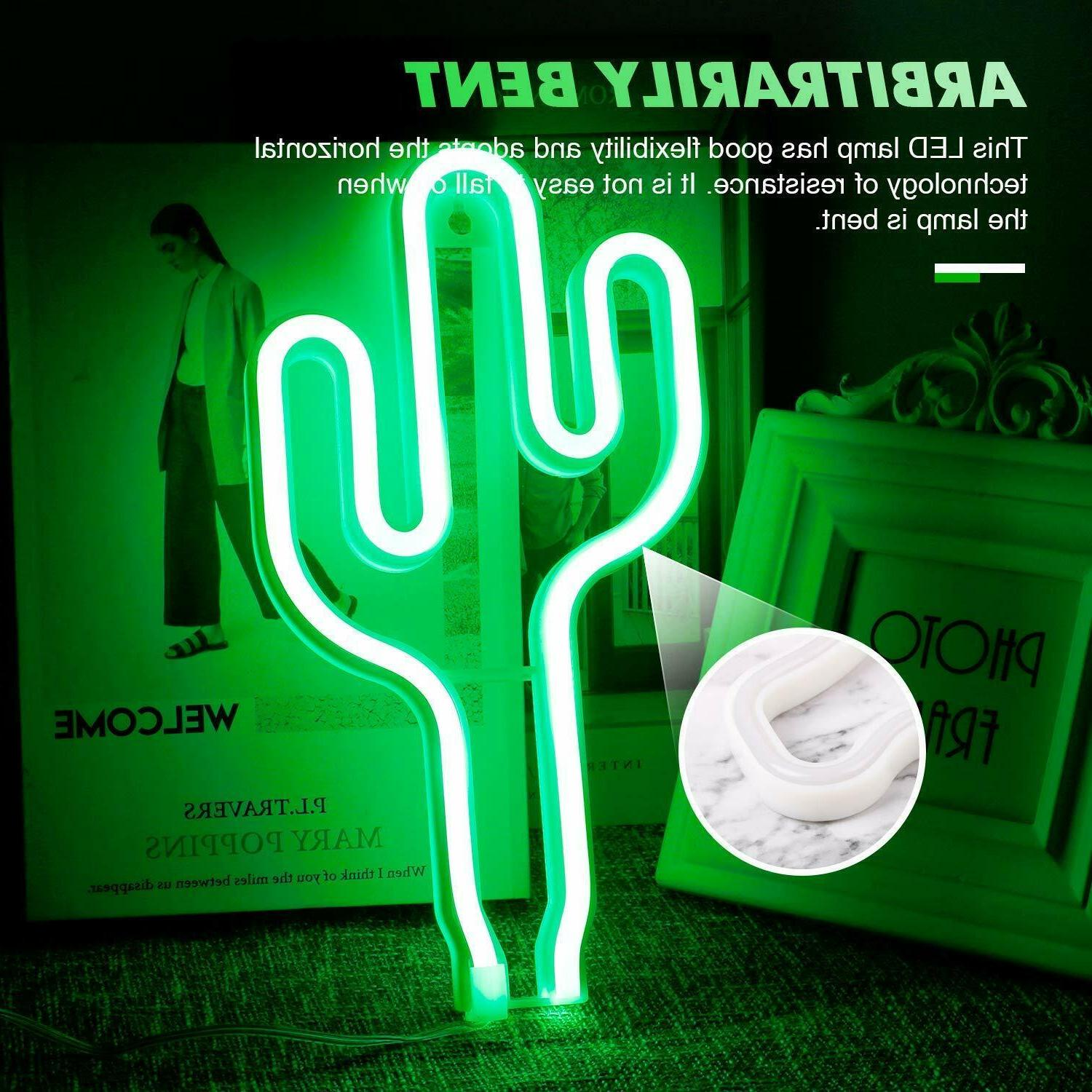 LED Cactus Wall Night Lamps Art on