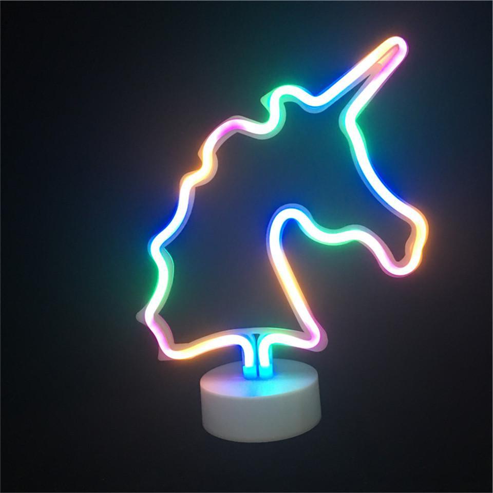 Led <font><b>Neon</b></font> <font><b>Unicorn</b></font> Shape <font><b>Neon</b></font> Lighting Party Decor Led Battery Lights