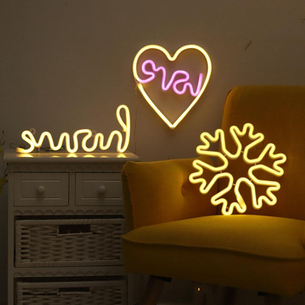 LED Warm White Wall Art <font><b>Sign</b></font> Lights Decoration Home Party Holiday Decor
