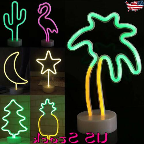 LED Neon Sign Light LED Night Light Flamingo Coconut tree Pineapple Table  Lamps