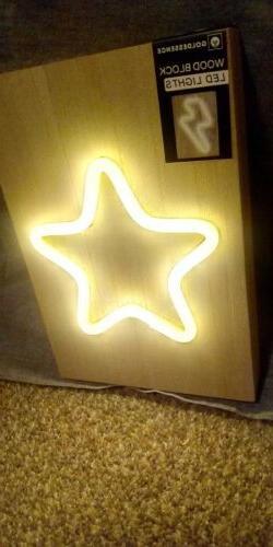 LED Wood Block Neon Sign GOLD STAR Night Light Wall Lamp Art